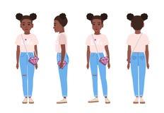 Amerykanina Afrykańskiego Pochodzenia nastolatek lub błękitnych obdartych cajgi, różową koszulkę i sneakers, płaski postać z kres royalty ilustracja