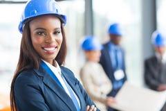 Amerykanina afrykańskiego pochodzenia pracownik budowlany Zdjęcia Royalty Free