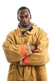 Amerykanina Afrykańskiego Pochodzenia strażak Zdjęcia Royalty Free