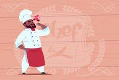 Amerykanina Afrykańskiego Pochodzenia szefa kuchni Cook Szczęśliwej Uśmiechniętej kreskówki Restauracyjny szef W bielu mundurze N Zdjęcia Stock