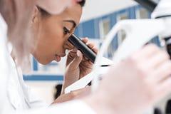 Amerykanina afrykańskiego pochodzenia naukowiec pracuje z mikroskopem w chemicznym lab Fotografia Royalty Free