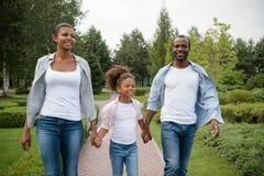 Amerykanina afrykańskiego pochodzenia rodzinny odprowadzenie w parku Zdjęcia Stock