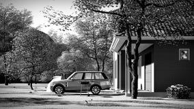 Amerykanina dom w wiejskim położeń 3d renderingu Zdjęcie Stock