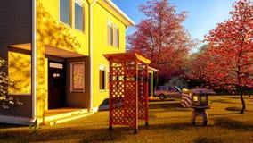 Amerykanina dom w wiejskim położeń 3d renderingu Fotografia Royalty Free