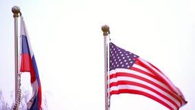 Amerykanina i rosjanina flag trzepotać wspólnota narodów i konfrontacja, zbiory