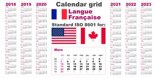 Amerykanina kalendarzowy standard USA Francuz, gaulish język 2018 2019 2020 2021 2022 2023 tygodni początków na Niedzieli, usa royalty ilustracja