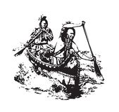 Amerykanina narodu Pierwszy ludzie w brzozy czółnie royalty ilustracja