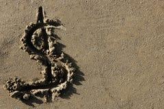 amerykanina plażowej waluty dolarowy piaska znak obrazy stock