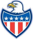 Amerykańska Łysego Eagle flaga osłona Retro Fotografia Stock