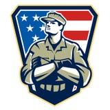 Amerykańskiego żołnierza ręka Składający Chorągwiany Retro Obrazy Stock