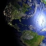 Ameryki na realistycznym modelu ziemia Fotografia Stock