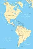 Ameryki, północ i południe Ameryka, polityczna mapa Obrazy Stock