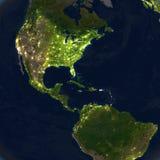 Ameryki przy nocą na planety ziemi Zdjęcia Royalty Free