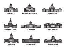 ameryki stany zjednoczone Wektorowa kolekcja Stany Zjednoczone miasto Obraz Royalty Free