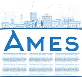 Ames Αϊόβα περιλήψεων ορίζοντας με τα μπλε κτήρια και το διάστημα αντιγράφων Στοκ Εικόνες