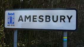 Amesbury Signpost. Town signpost for Amesbury, near Stonehenge in Wiltshire Stock Photos