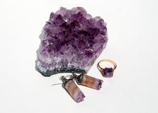 amethyst комплект кристалла Стоковые Изображения RF