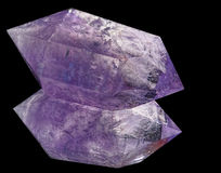 Amethyst кристалл на черном стекле Стоковые Изображения RF