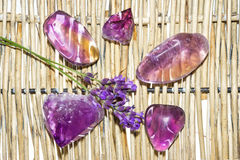 Amethyst and ametrine polished gemstones Royalty Free Stock Photo
