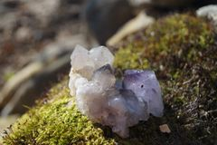 Amethyst, calcite royalty free stock photos