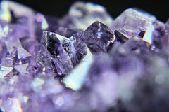 Amethyst cluster. A closer look at the beauty of crystals Royalty Free Stock Photos