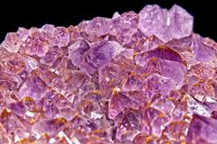 Amethyst crystal geode on black background. Purple to pink Amethyst crystal geode cut on black background stock photography