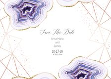 Amethyst crystal geode purple horizontal vector frame. Stylish ultraviolet texture card.Gold border.Sparkling gems.Natural stone.Trendy wedding invitation.All vector illustration