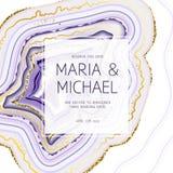 Amethyst crystal geode purple square vector frame. Stylish ultraviolet texture card.Gold border.Sparkling gems.Natural stone.Trendy wedding invitation.All royalty free illustration