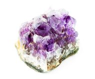 Amethyst crystal. Macro on white background. Mineral royalty free stock image