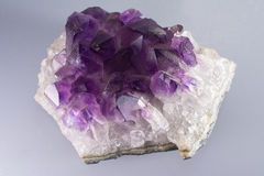 Amethyst Crystal Rock Stone. Chunk Of Amethyst Crystal Stone Royalty Free Stock Photo
