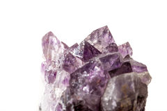 Amethyst crystal on white backround Royalty Free Stock Image