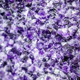 Amethyst crystals purple close look. At The National Dinosaur Museum stock photos