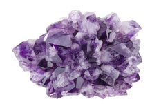 Amethyst Directly Above Over White Background. A violet variety of quartz, often used in jewelry. Silica, silicon dioxide, SiO2 royalty free stock photo