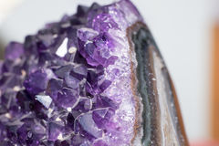 Amethyst druse over rock Royalty Free Stock Images