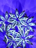 Amethyst flowers. On the blue background, shining jewelry. Illustration made on computer royalty free illustration