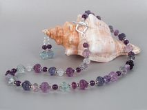 Amethyst and fluorite necklace Royalty Free Stock Image