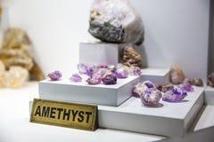 Amethyst gemstone, exhibition of jewelry on Ceylon Stock Photo