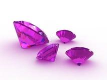 Amethyst gemstones. Four purple or lilac amethyst gemstones isolated on white background stock illustration