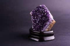 Amethyst geode on black background Royalty Free Stock Photography