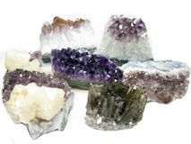 Amethyst geode geological crystals Royalty Free Stock Images