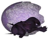 Amethyst Jewel Dragon. Baby Amethyst dragon sleeping in their eggshell stock illustration