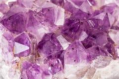 Amethyst macro. Macro shot of some vibrant edgy amethyst crystals Stock Images