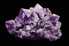 Amethyst over Black Background Stock Photos