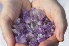 Amethyst Pieces in hands royalty free stock image