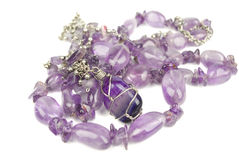 Amethyst  purple  necklace Stock Photo