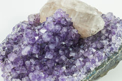 Amethyst and Quartz. A beautiful chunk Amethyst and quartz Stock Photos