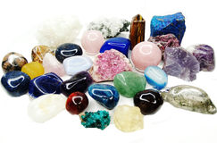 Amethyst quartz garnet sodalite agate geological crystals Stock Photo