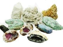 Amethyst quartz garnet sodalite agate geological crystals Royalty Free Stock Photo