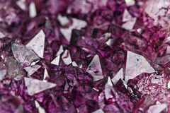 Amethyst quartz. Mineral purple amethyst quartz detail Royalty Free Stock Photo