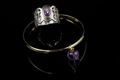 Amethyst ring and bracelet Stock Images
